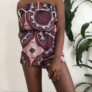 Pants - strapless patterned romper